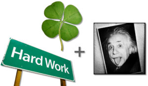 ingrediants for good work - luck, hard work, fun